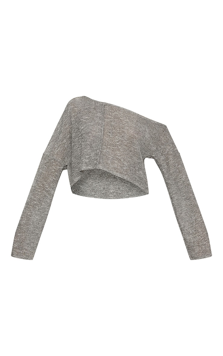 Silver Glitter Knit Off The Shoulder Crop Top 3