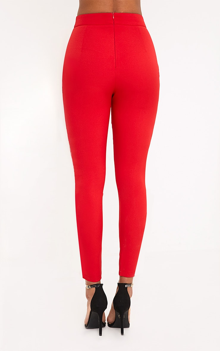 Anetta Red Lace Up Side Cigarette Trousers 3