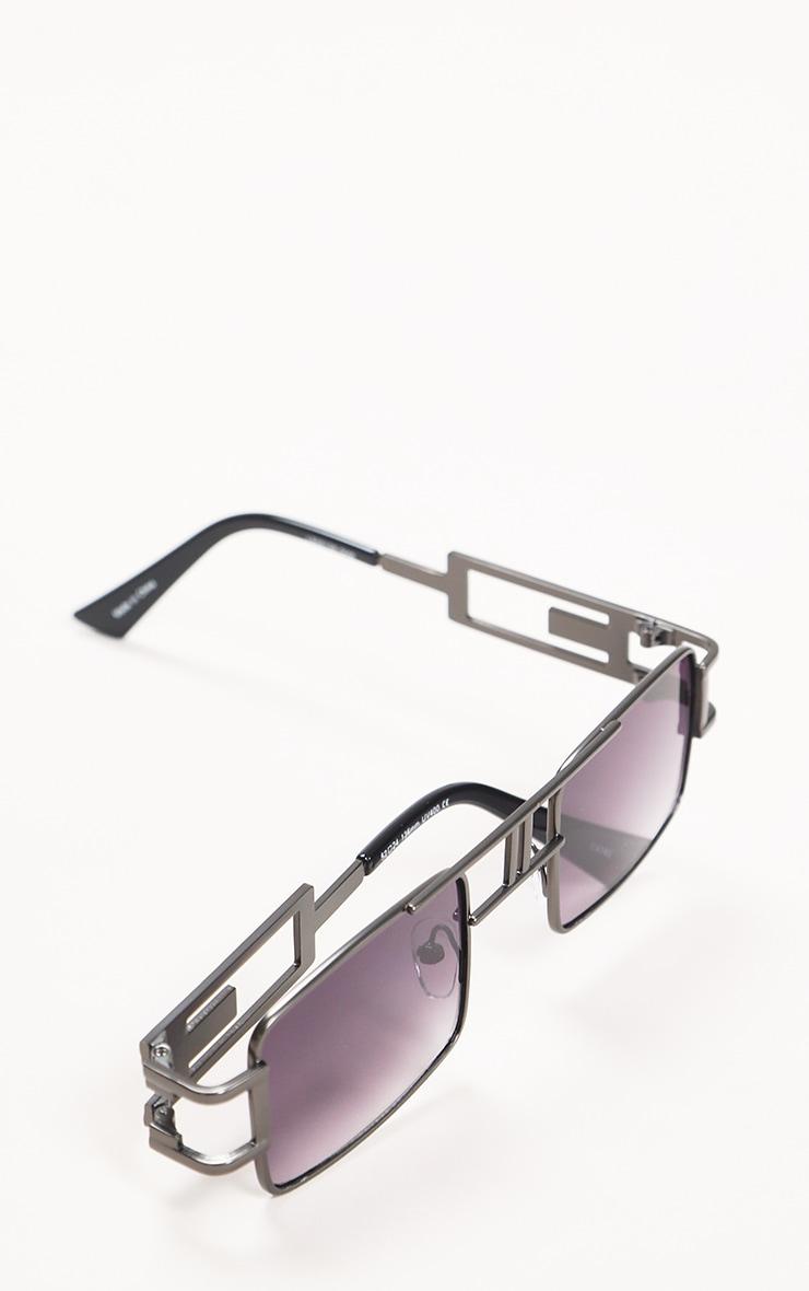Black Trim Double Bar Faded Sunglasses 4