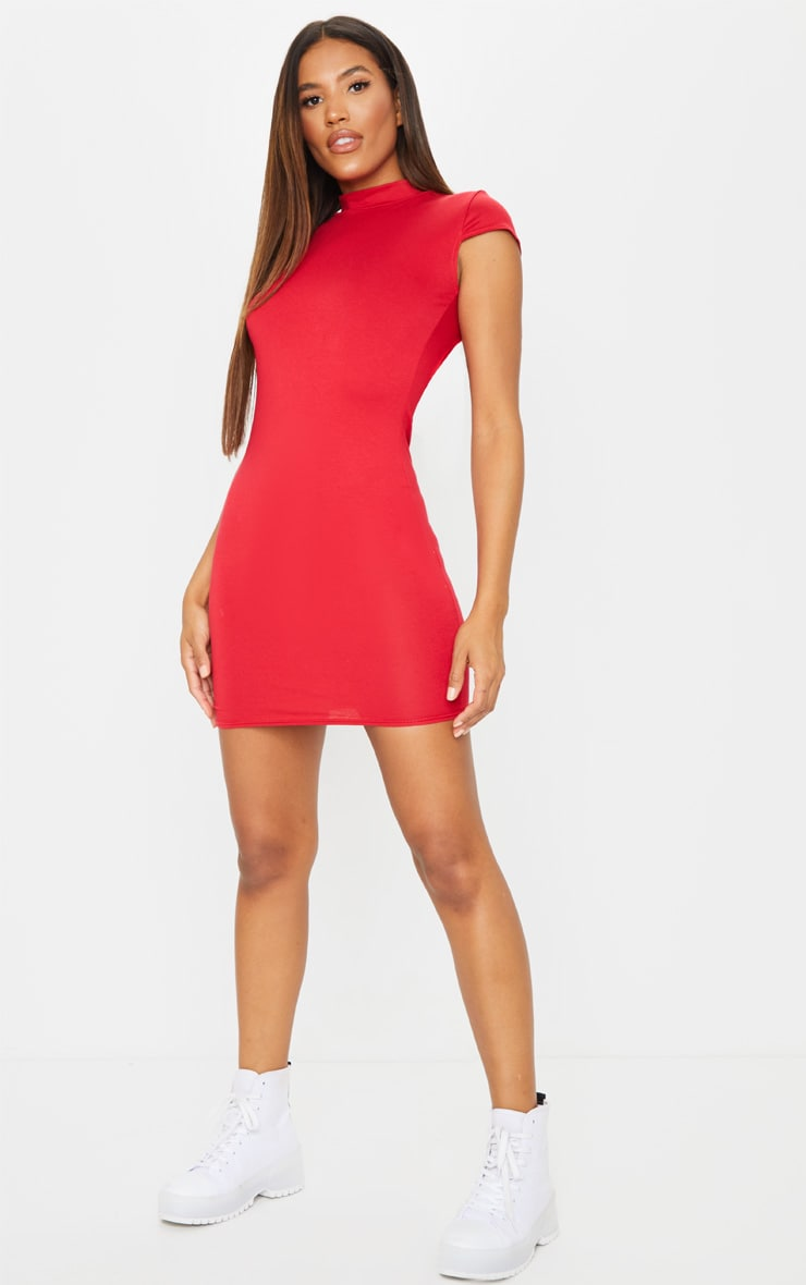 Red High Neck Cut Out Detail Bodycon Dress 3