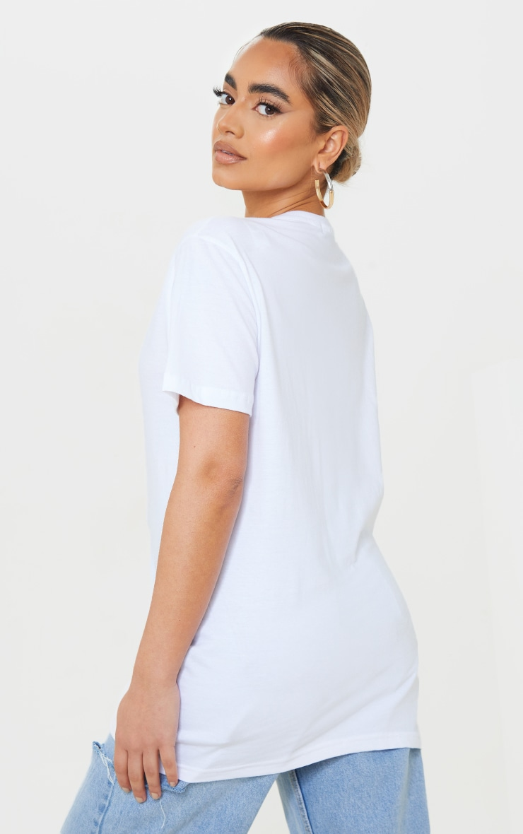 PRETTYLITTLETHING Petite White Sports Club Embroidered Oversized T-Shirt 2