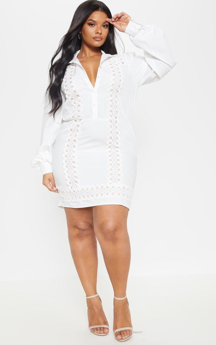 Plus White Lace Panel Shirt Dress 4