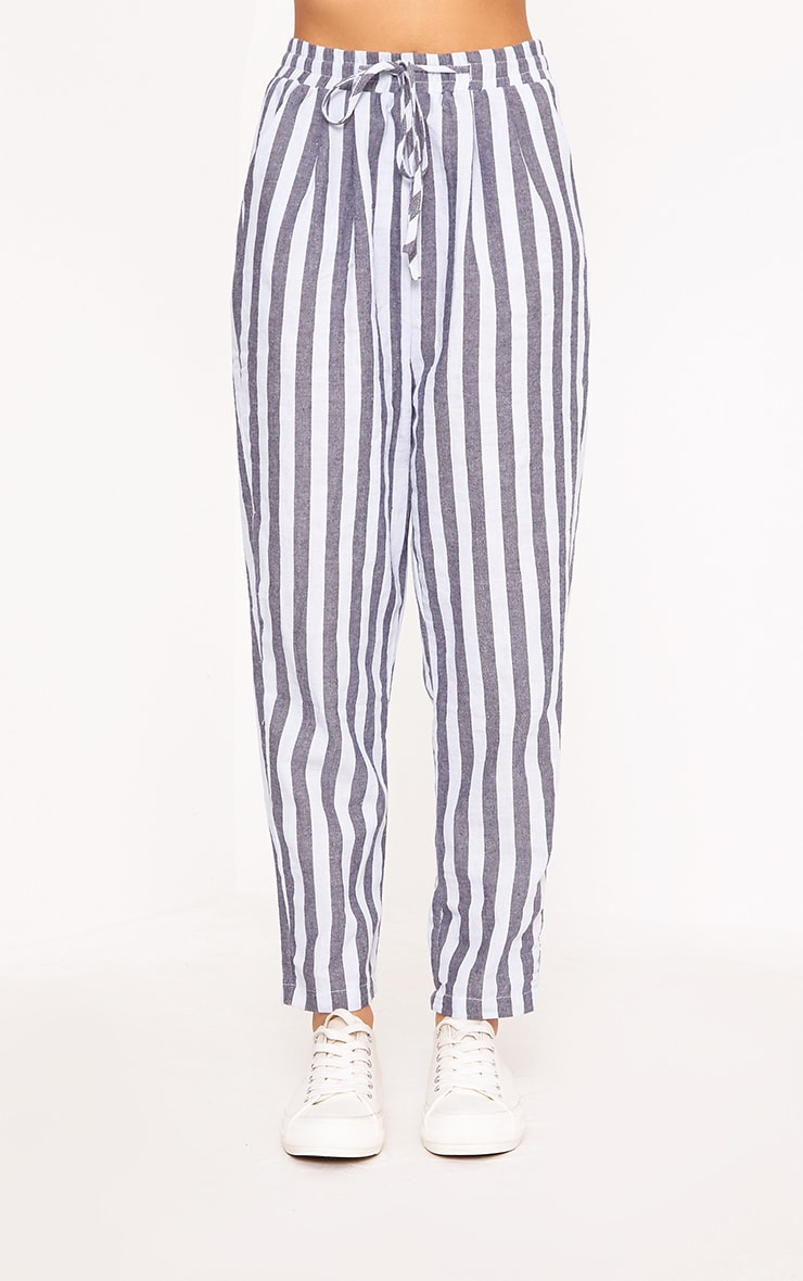 Diya Blue Stripe Casual Trousers 2