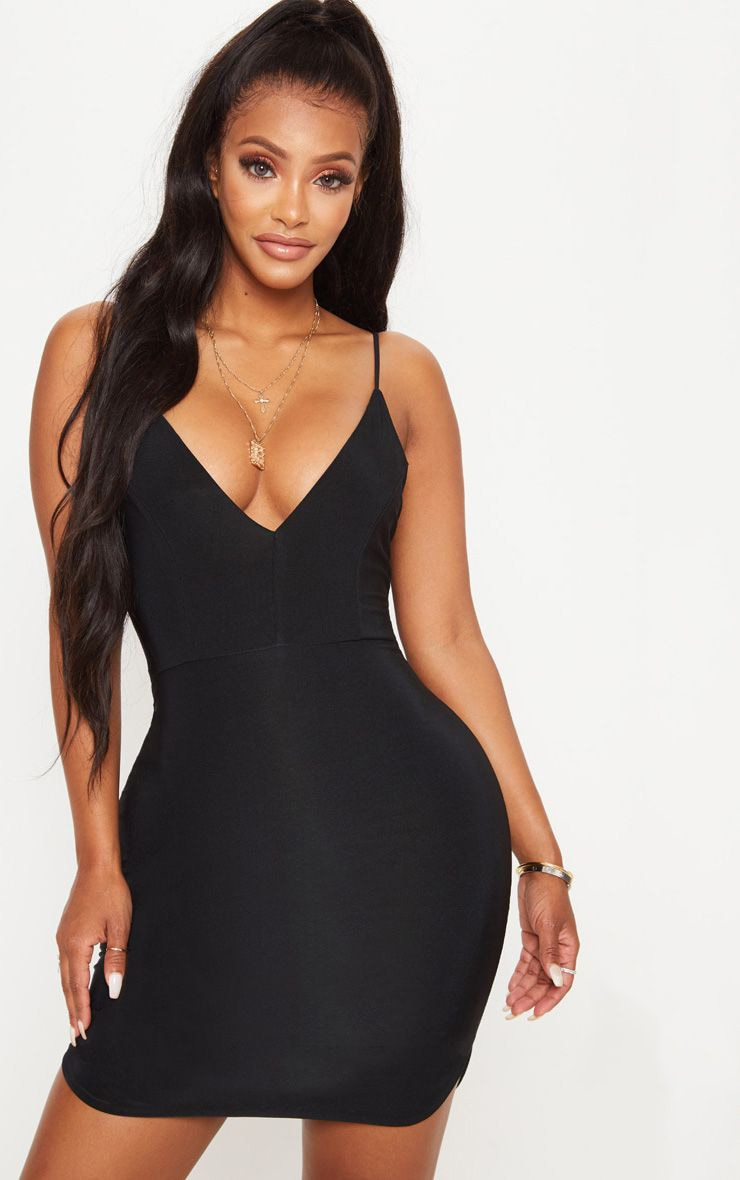 Shape Black Slinky Plunge Strappy Bodycon Dress 1