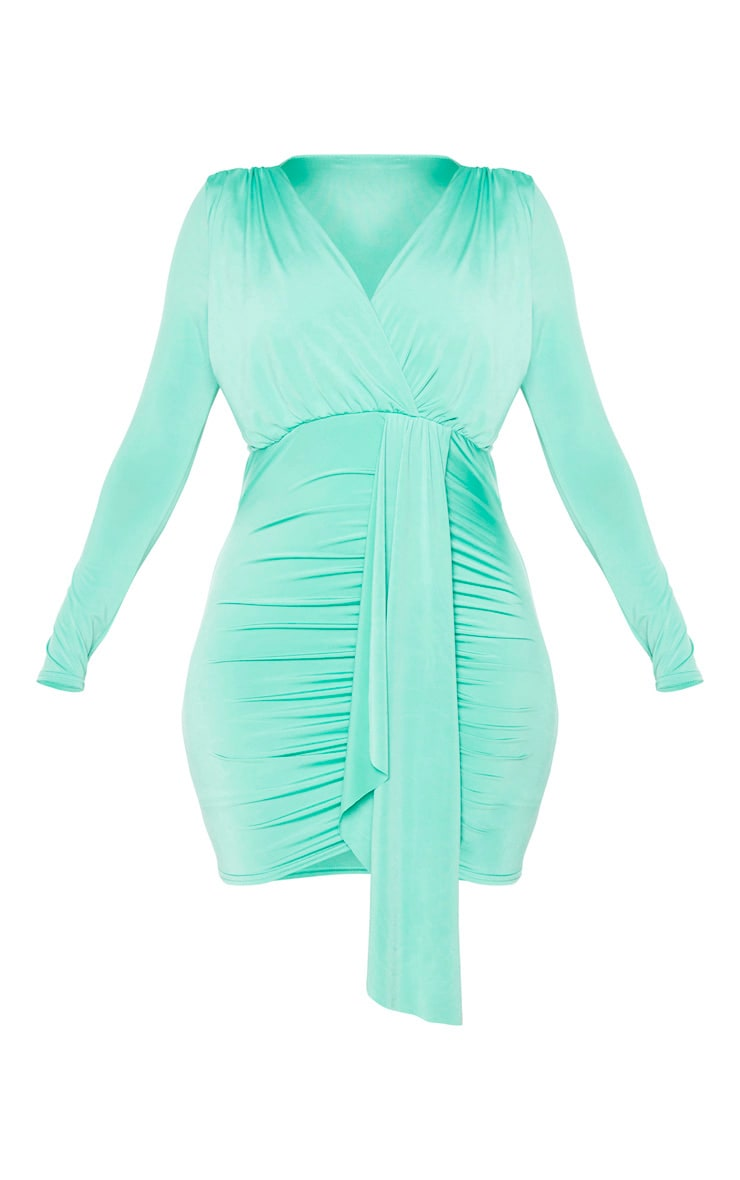 Green Slinky Ruched Front Drape Detail Bodycon Dress 5