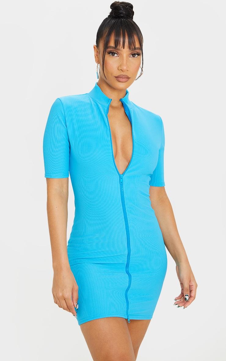 Robe moulante côtelée bleu vif zippée devant à manches courtes 3