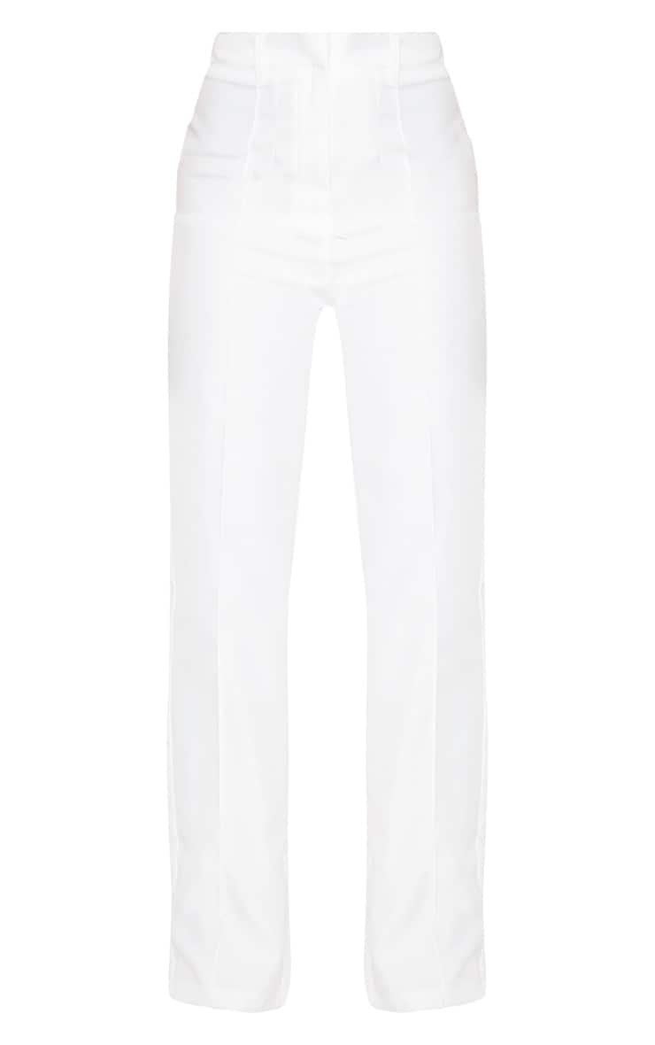 Petite White High Waist Straight Leg Trouser 3