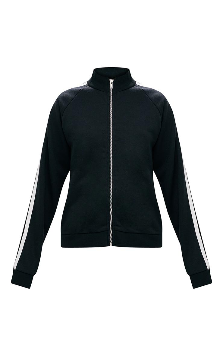 Black Contrast Stripe Runner Jacket  3