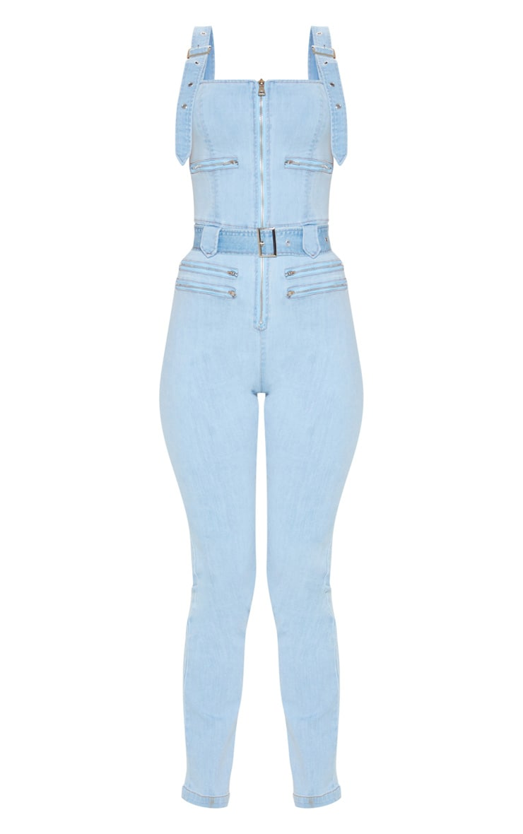 Light Wash Biker Belted Denim Catsuit 3