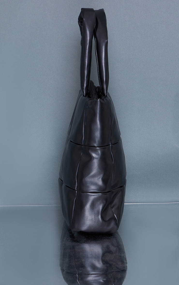 Black Oversized Square Quilted Tote Bag 3