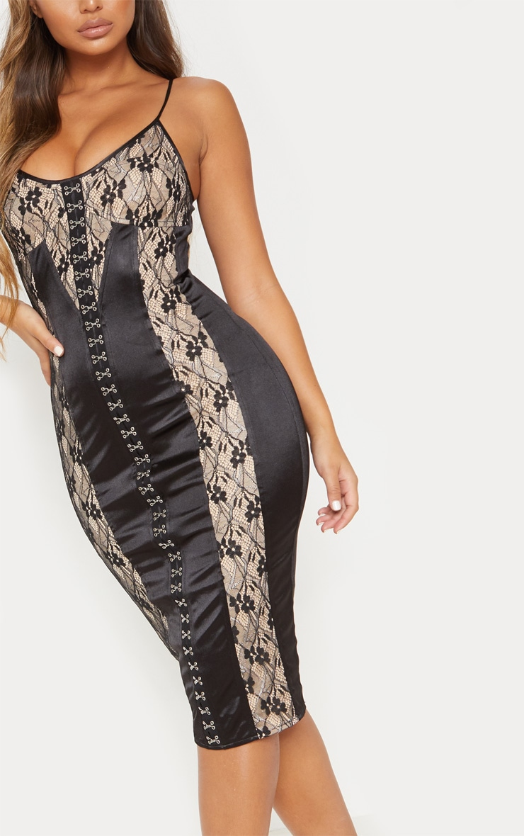 Black Satin Strappy Eyelet Lace Detail Midaxi Dress 6