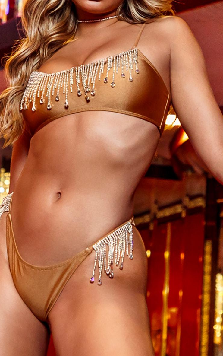 Mocha Drip Diamante Scoop Neck Bikini Top 5