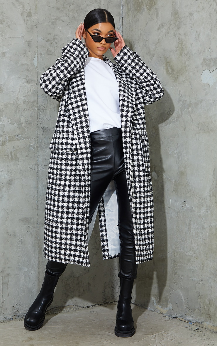 Black Houndstooth Maxi Oversized Coat