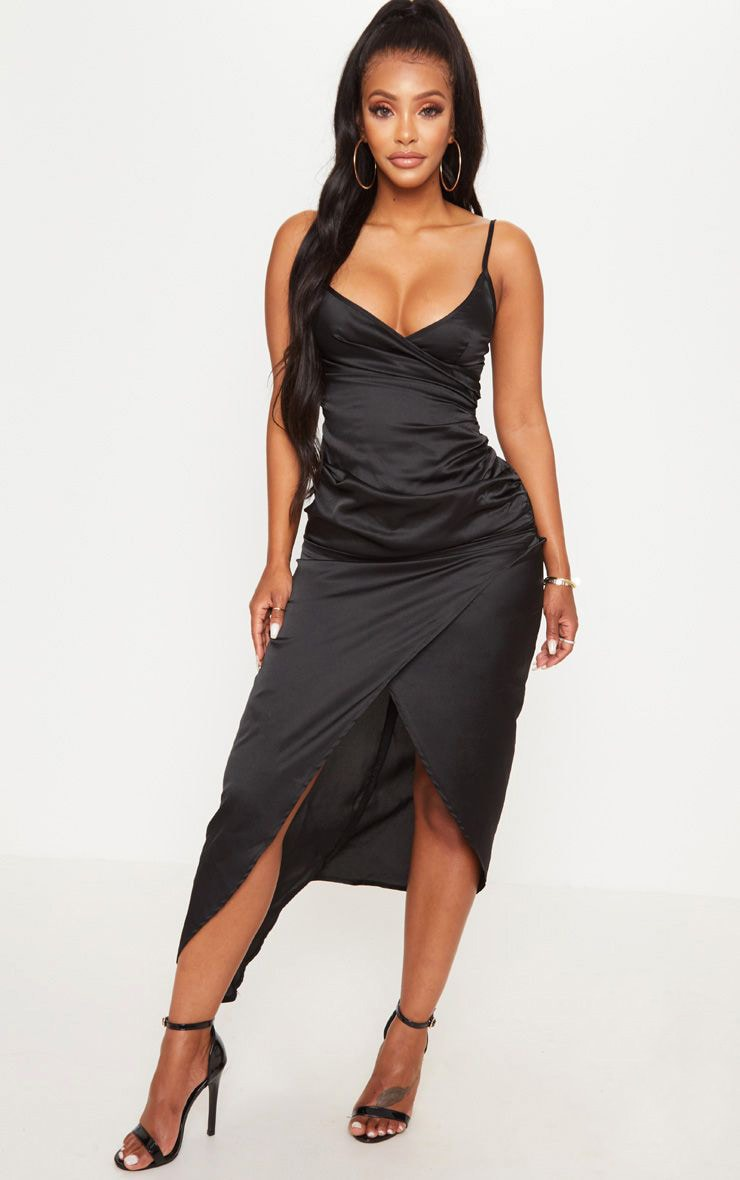 Shape Black Satin Wrap Detail Midaxi Dress 1