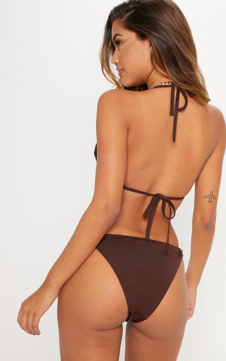 Chocolate Chain Detail Triangle Bikini Top 2