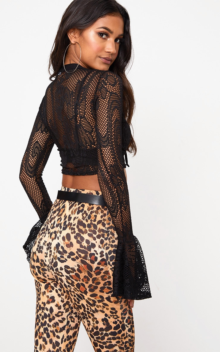 Black Fishnet Lace Up Flare Sleeve Crop Top 2