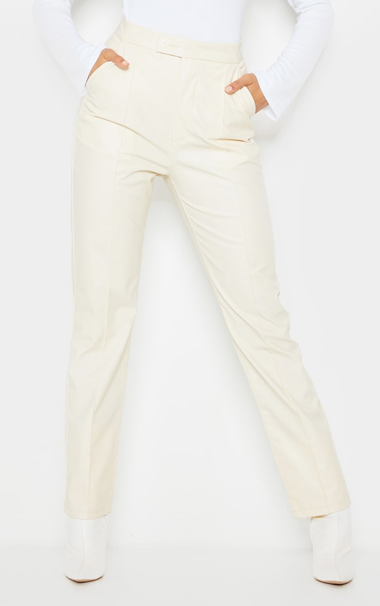 Cream Faux Leather Pintuck Detail Straight Leg Trousers 2