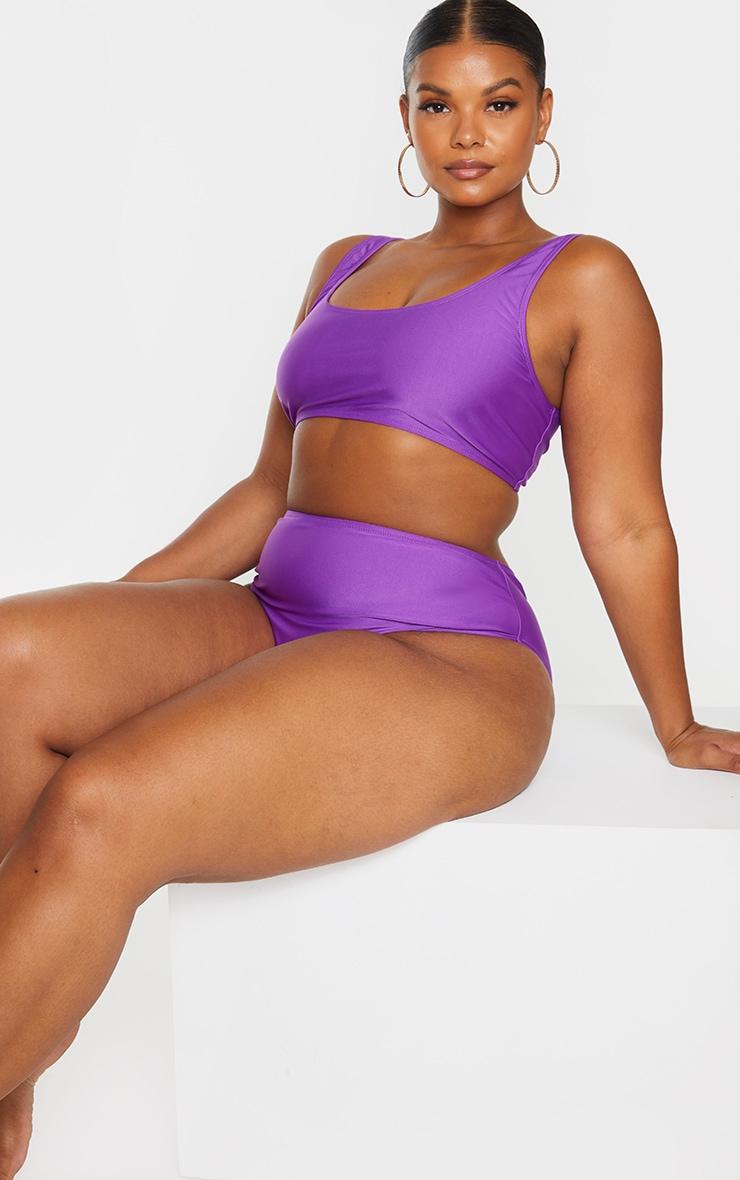Plus Purple Basic Scoop Neck Bikini Top 3