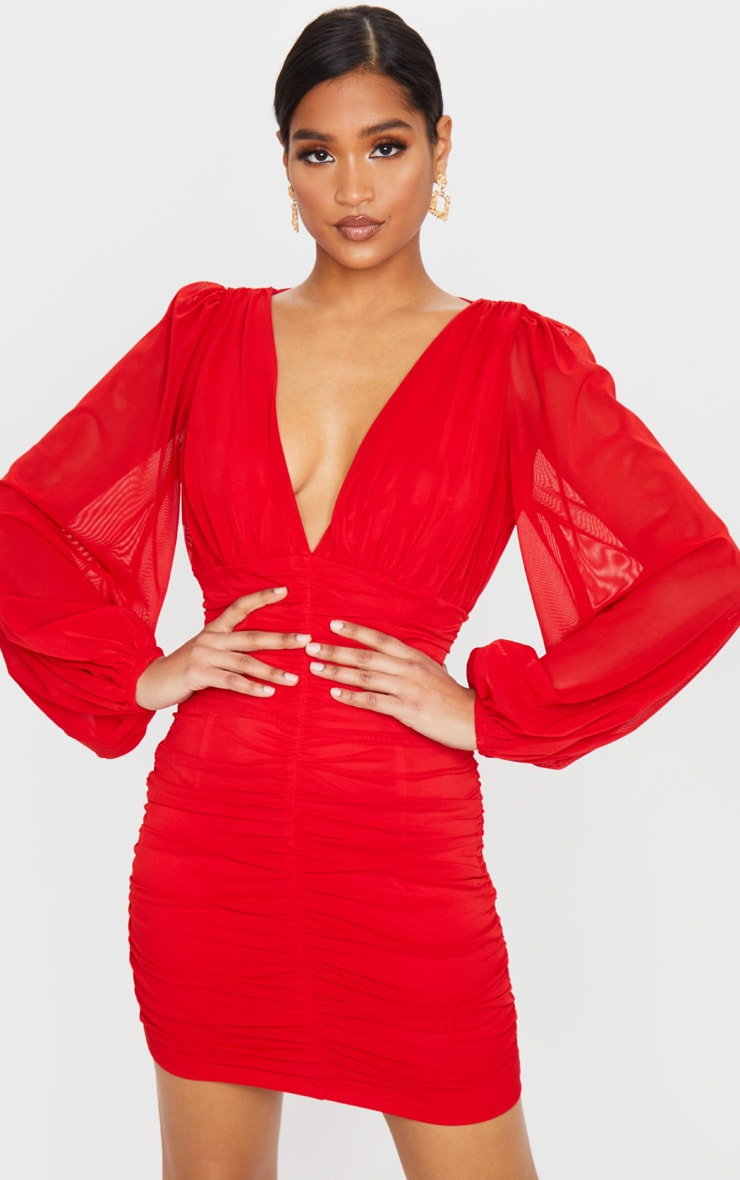 Red Mesh Ruched Balloon Sleeve Bodycon Dress 1