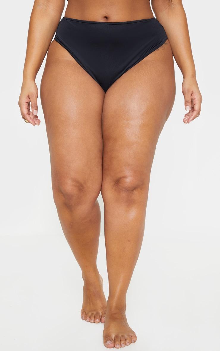 Plus Black High Waist High Leg Bikini Bottoms 2