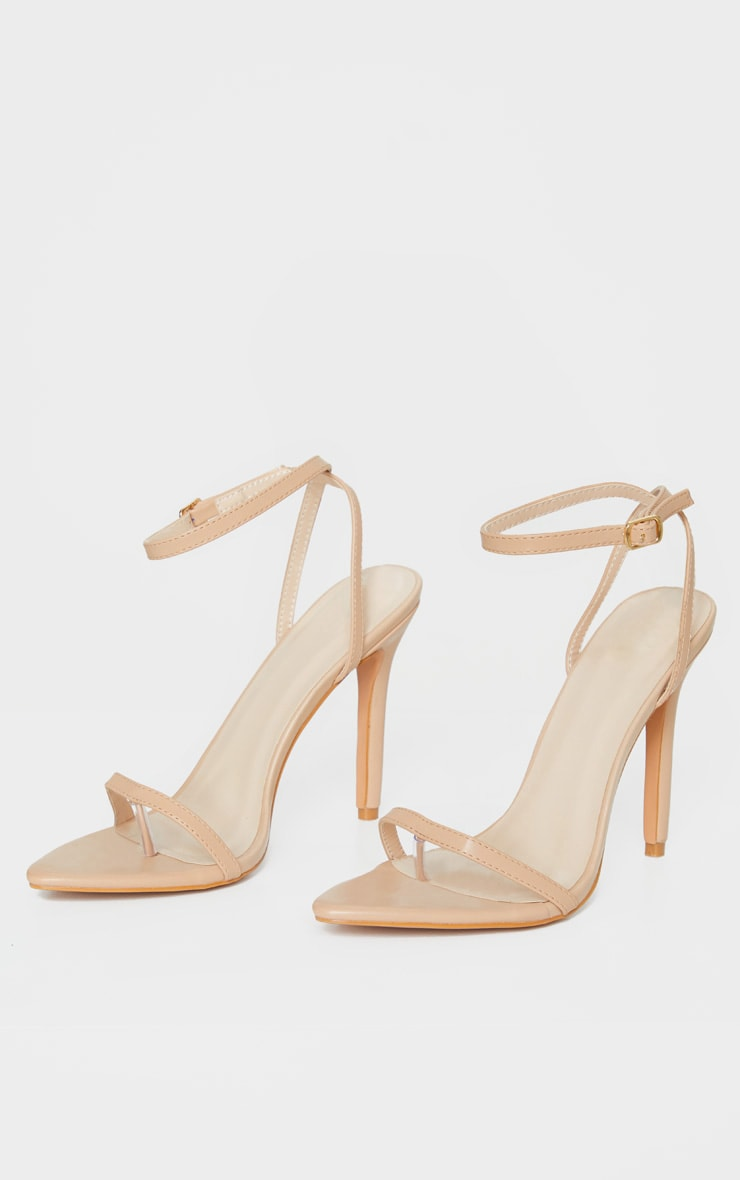 Nude Toe Thong Ankle Strap Point Toe Heeled Sandal 3