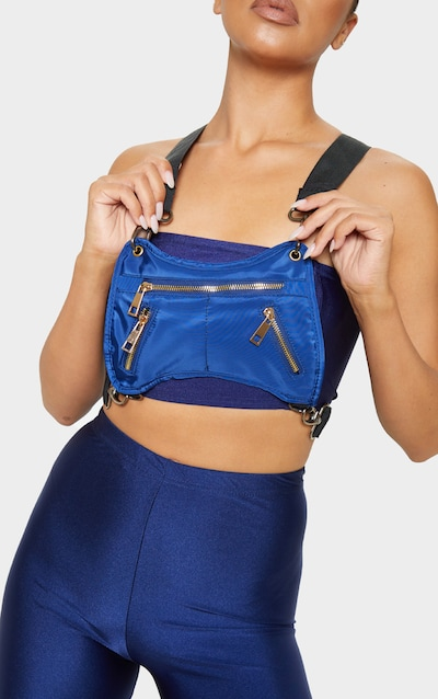 743a4079353 Blue Nylon Messenger Harness Bag