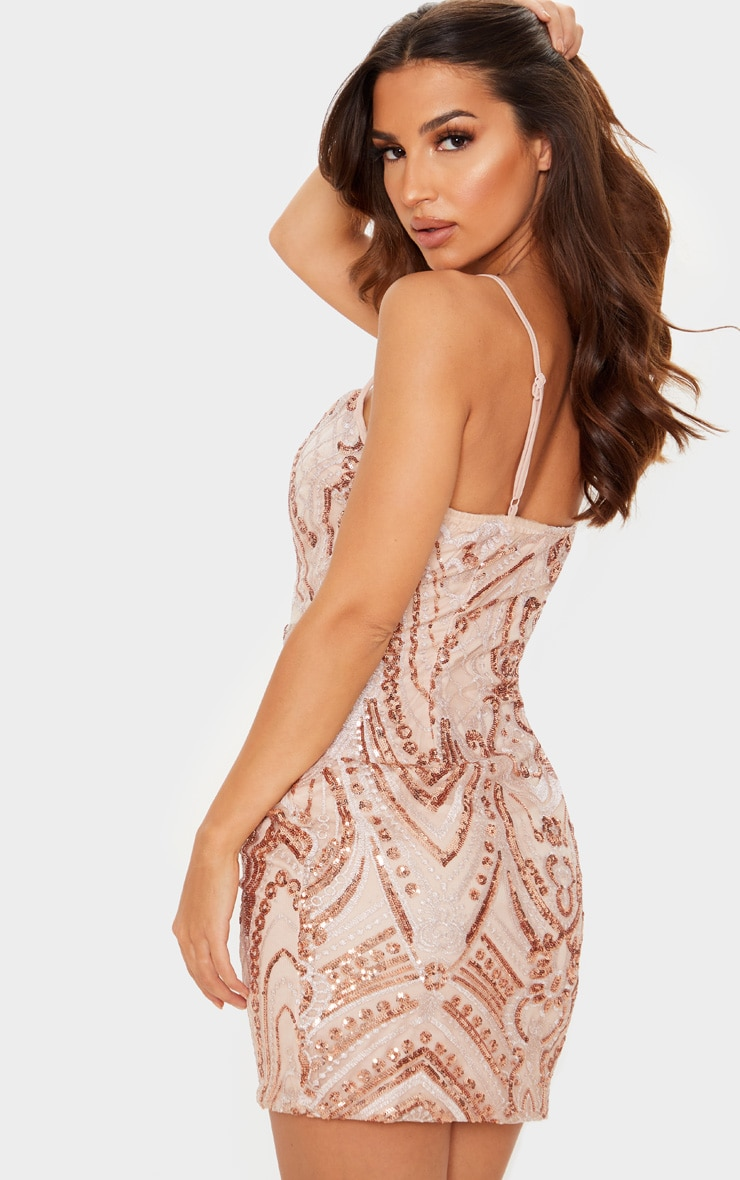 Pink Sequin Embellished Bodycon Dress 2