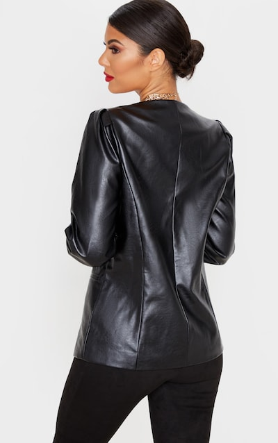 Black Faux Leather Drop Neck Blazer