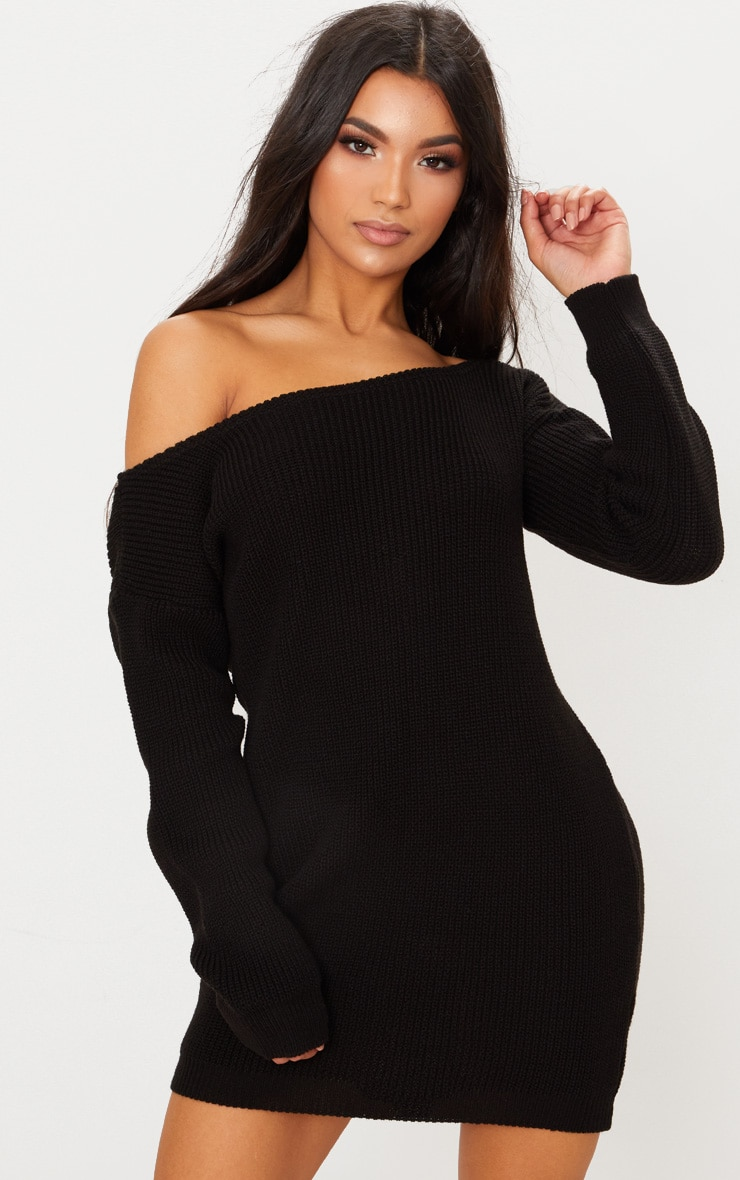 Black Off The Shoulder Sweater Dress 1