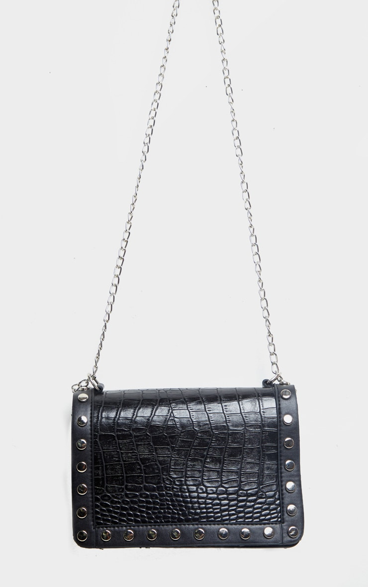 Black Studded Croc Cross Body Bag 2