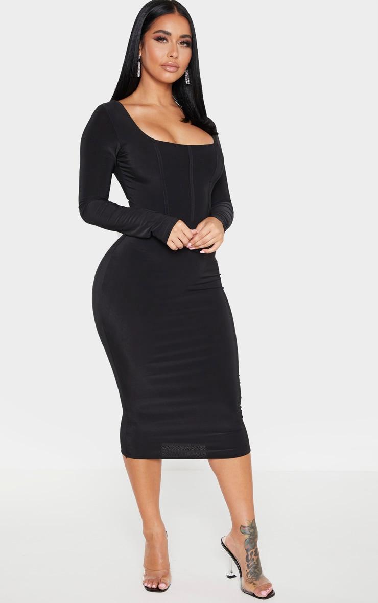 Shape Black Slinky Panelled Long Sleeve Midi Dress 3