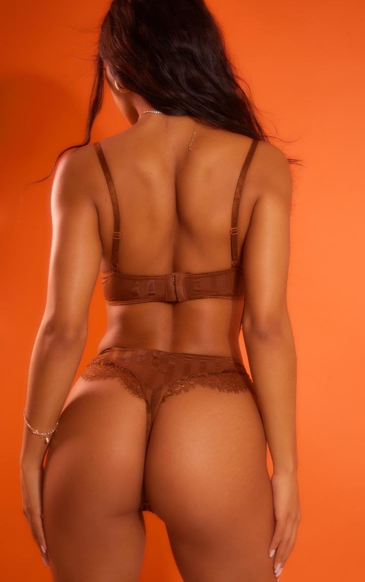 Chocolate Striped Lace High Leg Thong 2