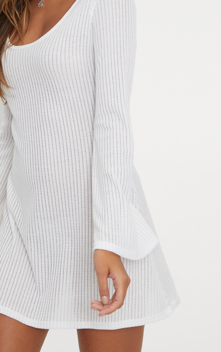 White Ribbed Flare Sleeve Shift Dress 5