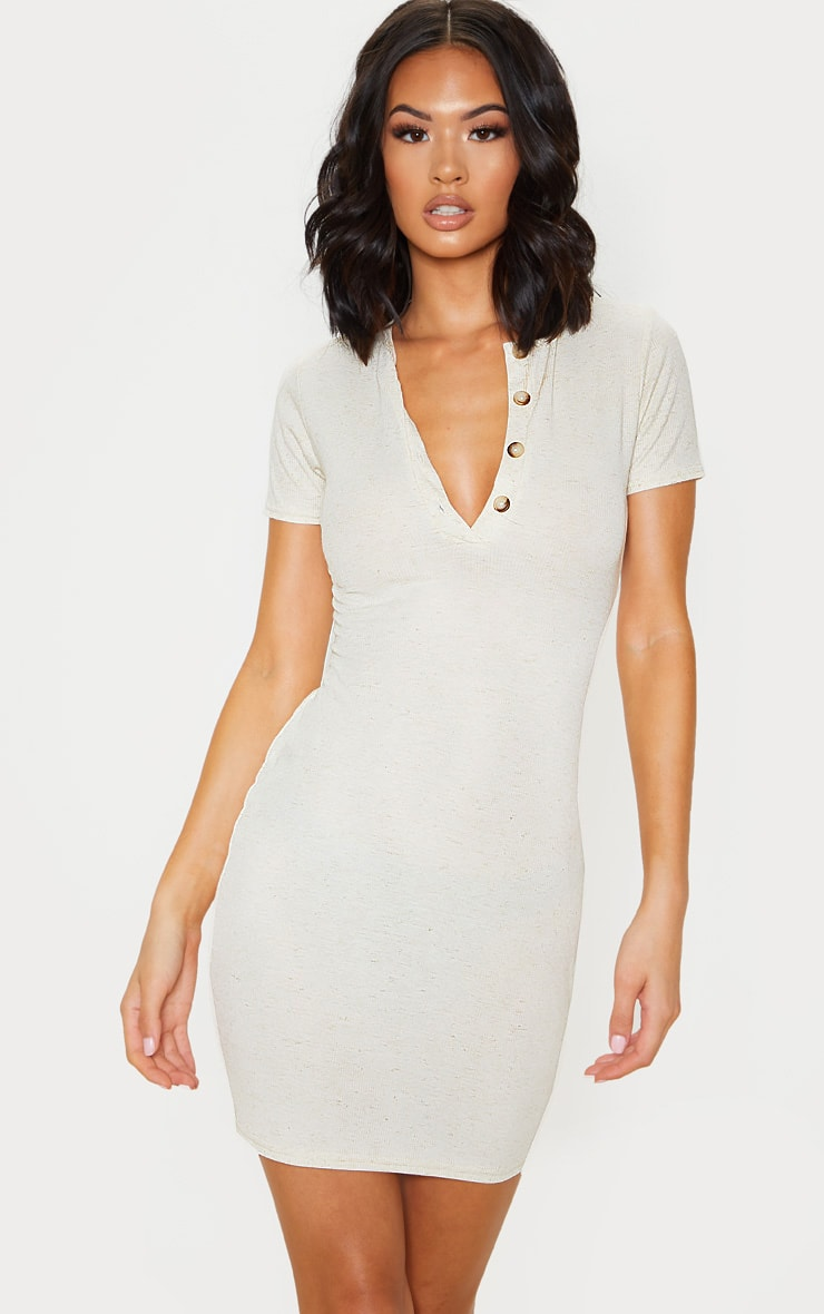 Oatmeal Soft Marl Rib Button Up Short Sleeve Bodycon Dress 1
