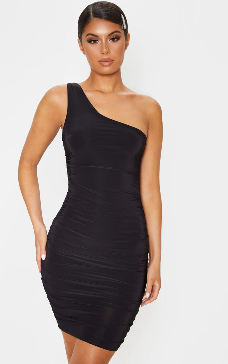 Black Slinky One Shoulder Ruched Bodycon Dress 1