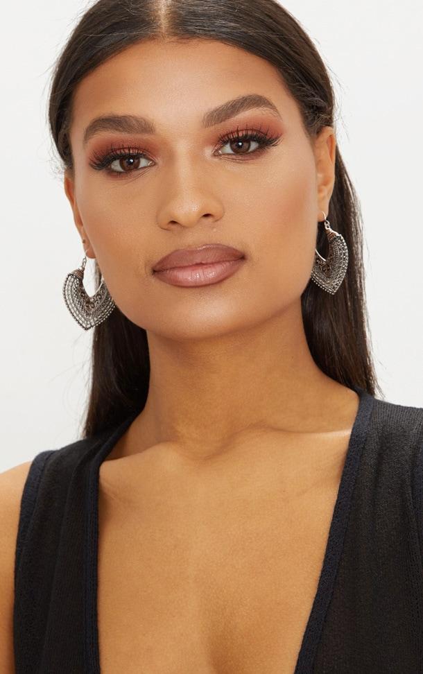 Silver Boho Detail Curve Hoop Earrings 2