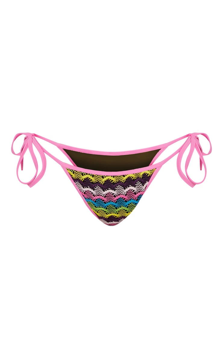 Multi Scallop Knit Tie Side Bikini Bottom 3