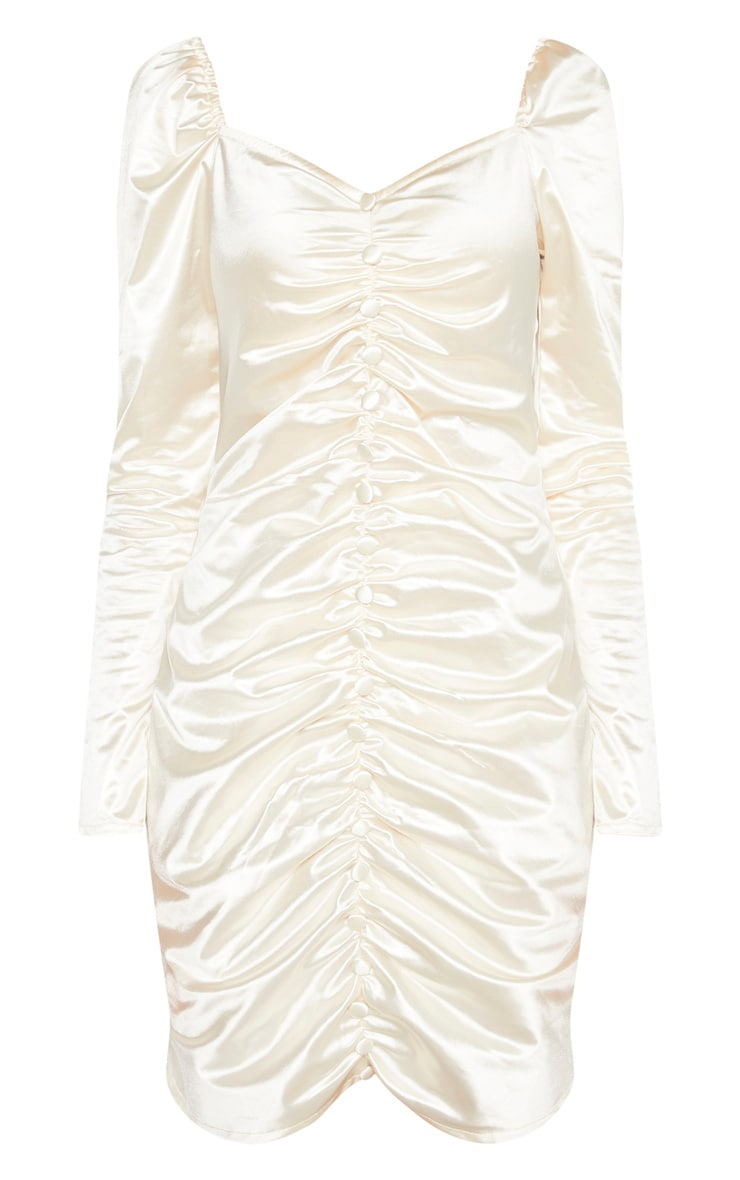 Tall Cream Ruched Button Front Satin Dress  3