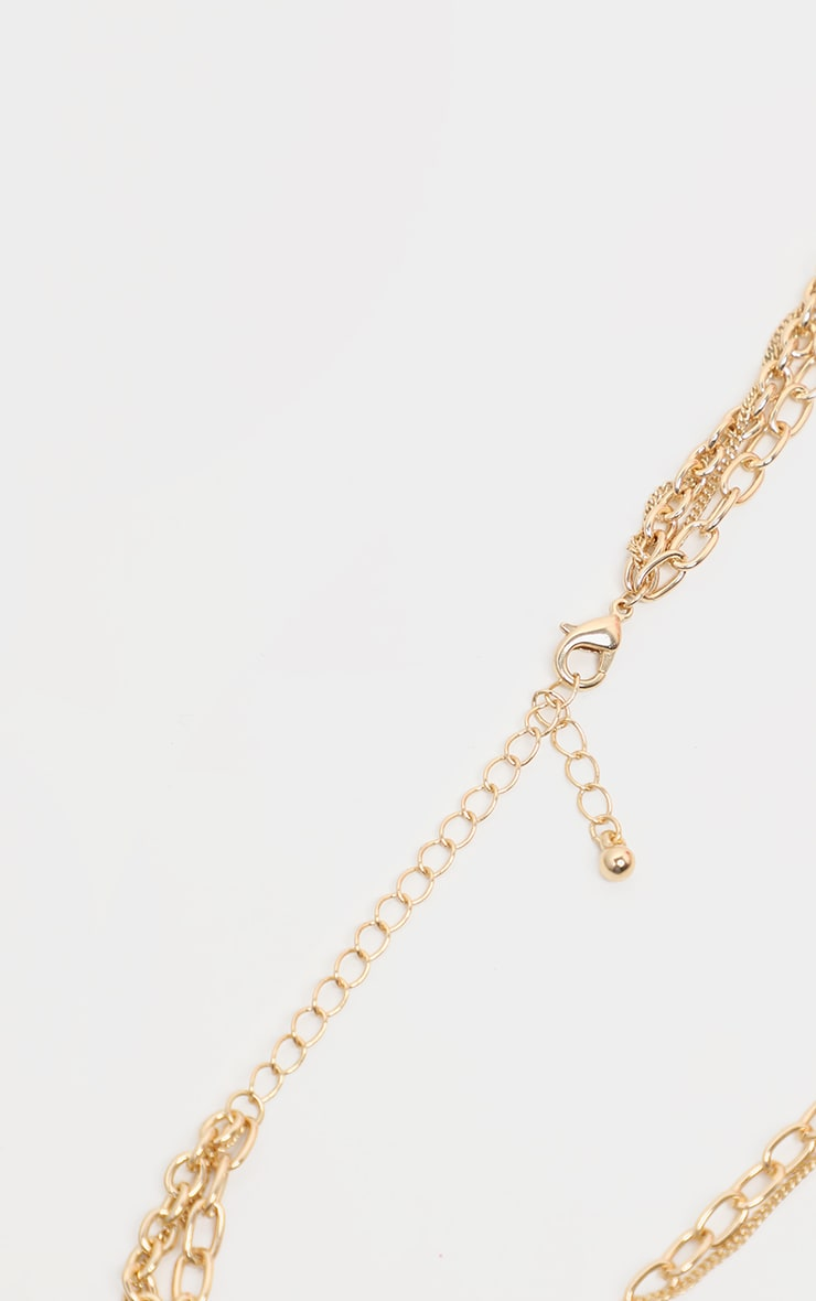Gold Multi Chain T Bar Layer Necklace 3