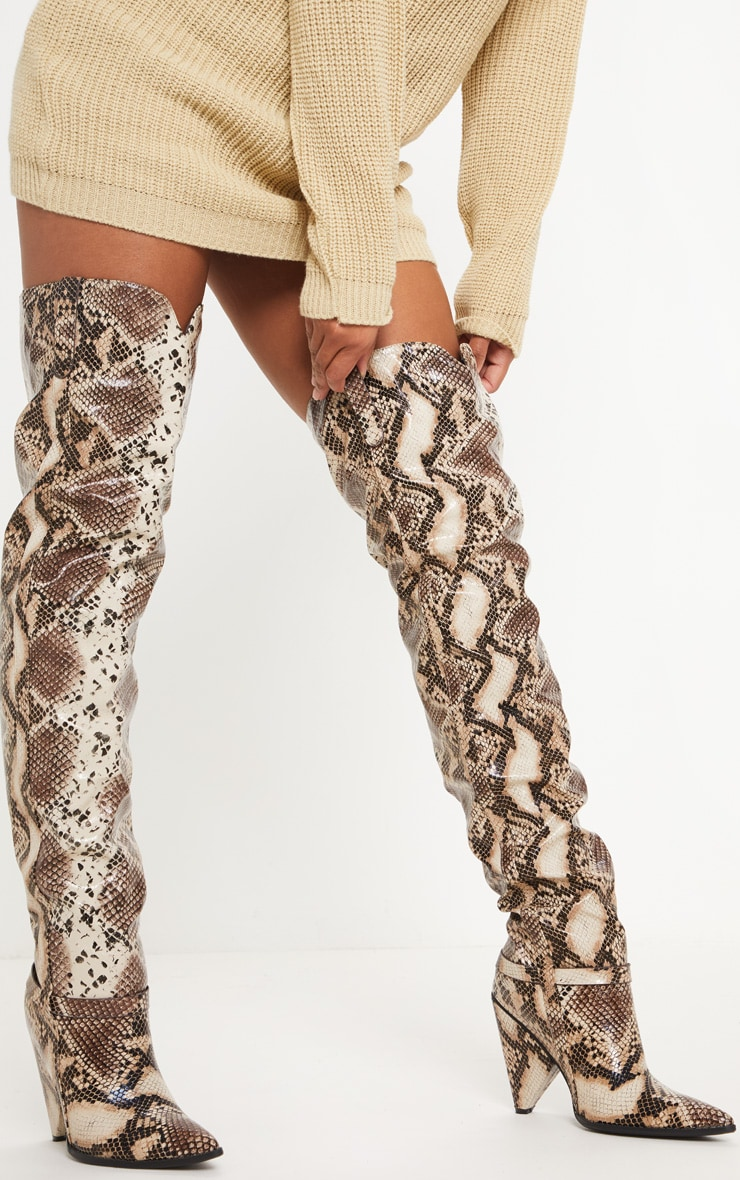 Snake Cone Heel Thigh High Western Boot