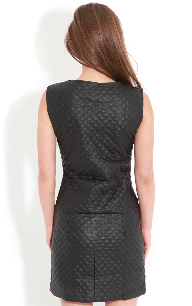 Rae Black Quilted PU Dress With Gold Chain Detail 2