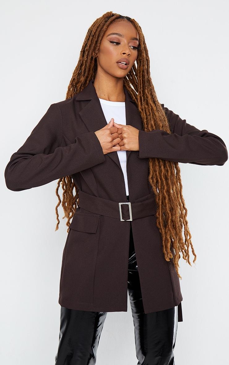 Chocolate Longline Buckle Belted Blazer 1
