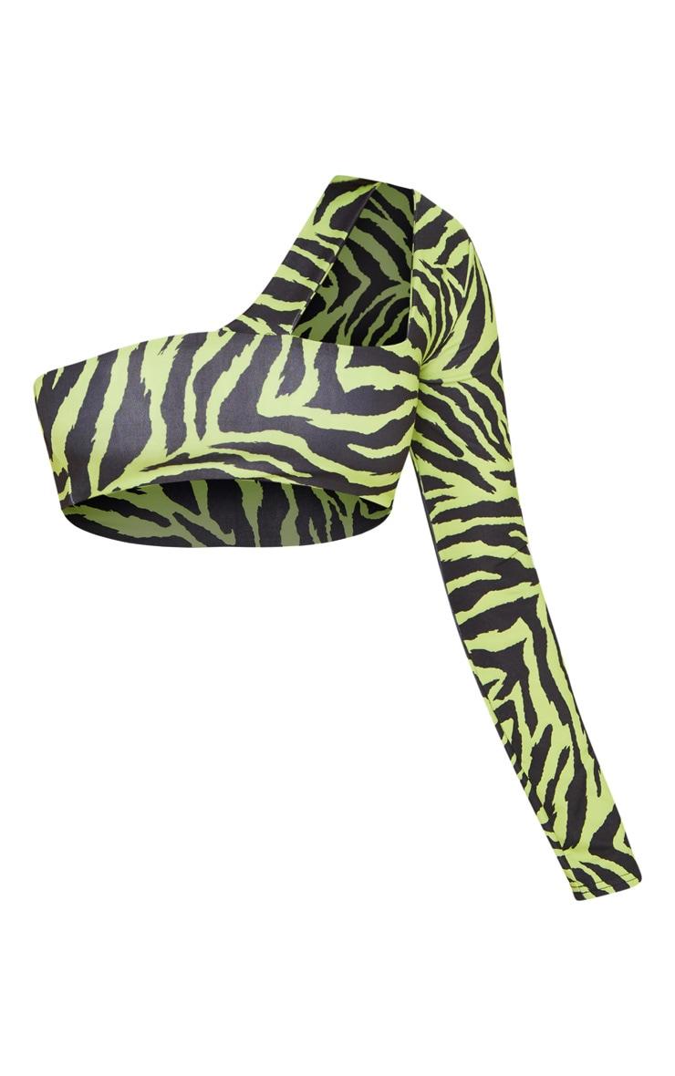 Neon Lime Zebra One Sleeve Cut Out Bikini Top 3