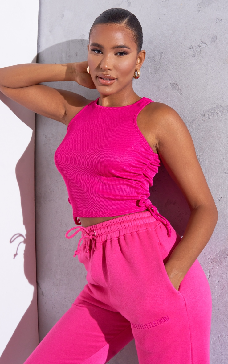 RENEW Pink Rib Ruched Side Racer Top 1