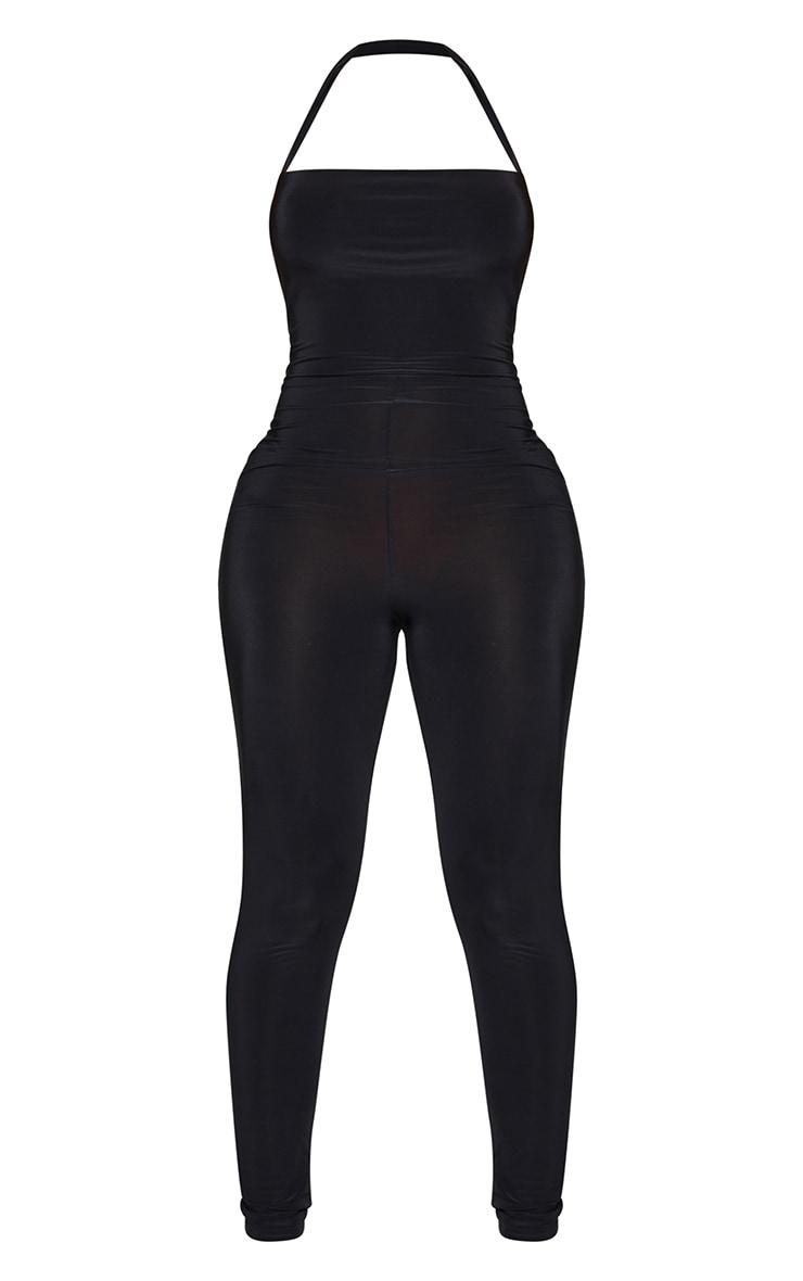 Shape Black Slinky Wrap Neck Detail Jumpsuit 5