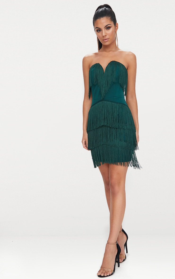 Emerald Green Tassel Detail Plunge Bandeau Bodycon Dress 3