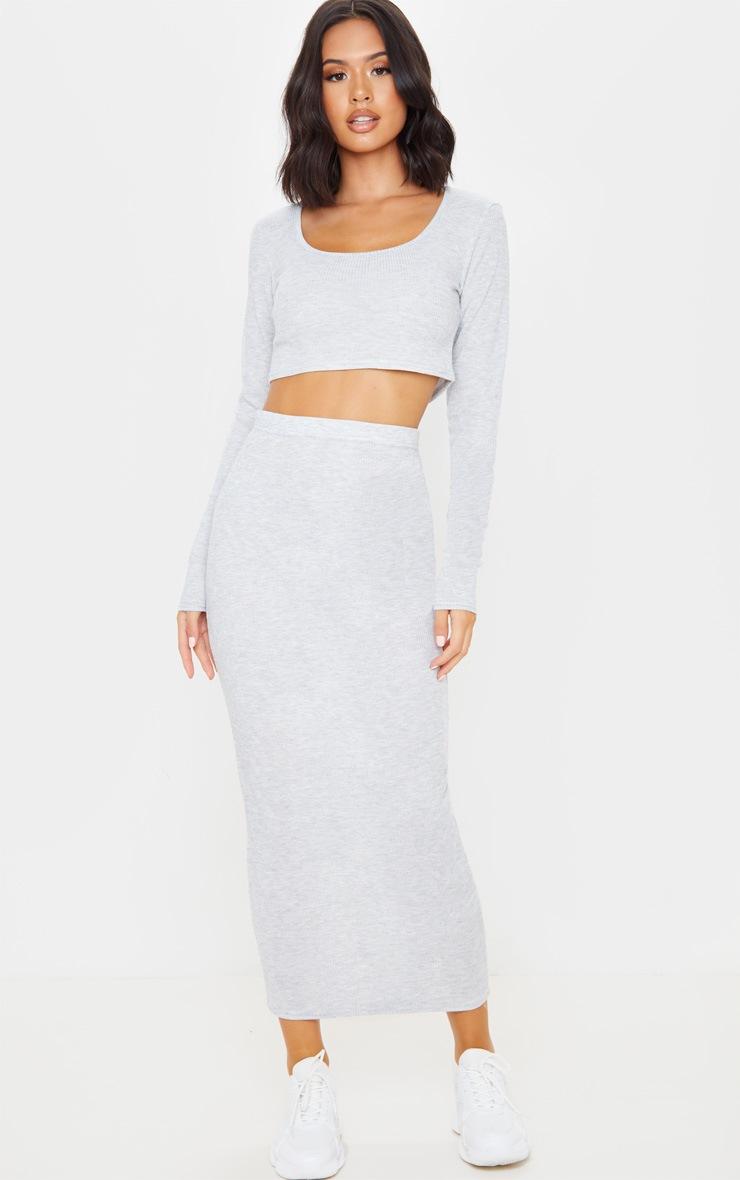 Grey Rib Crop And Skirt Set 1
