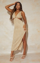 Camel Exposed Seam Ring Detail Cut Out Midaxi Dress 1