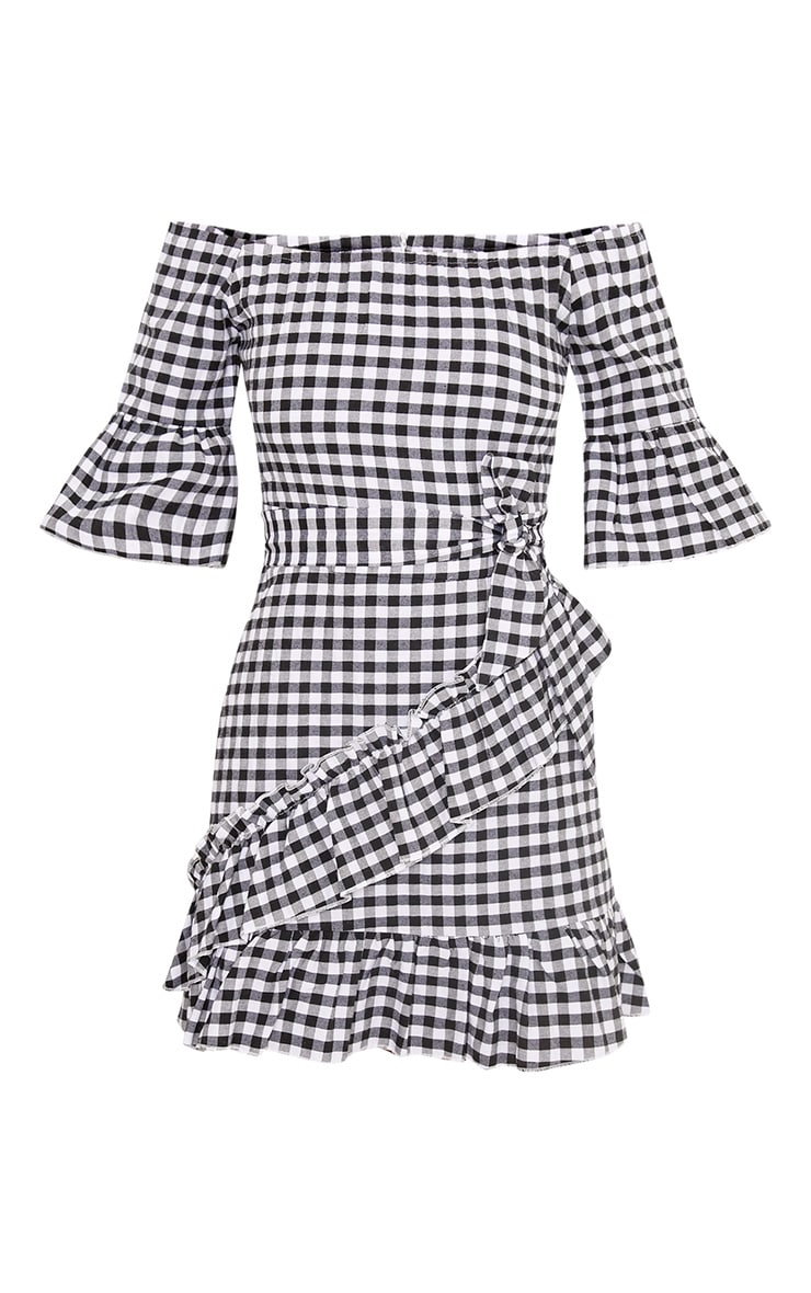 Sandy Black Gingham Bardot Dress  3