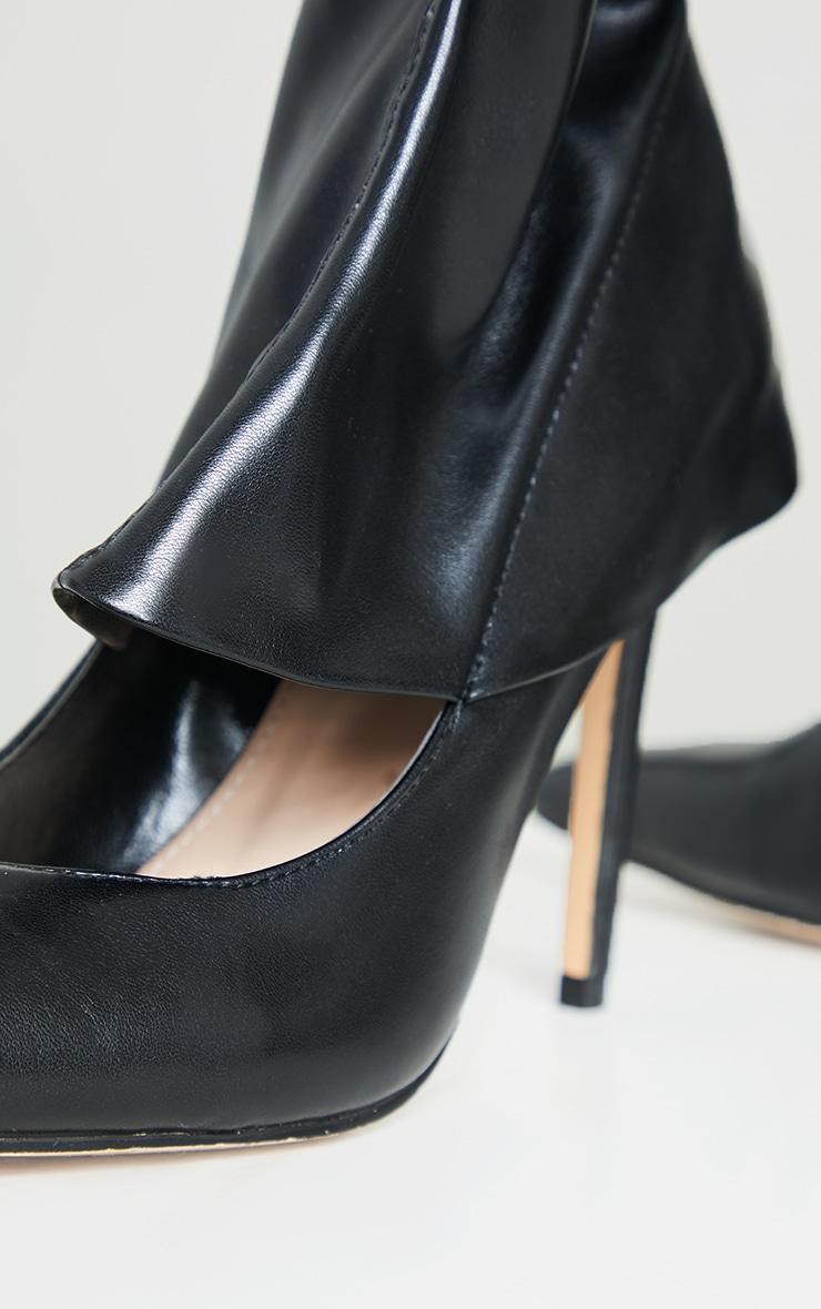 Black PU Thigh High Court Shoe Boots 4